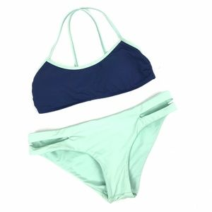 L*Space Two Piece Swimsuit Blue Mint Green Halter